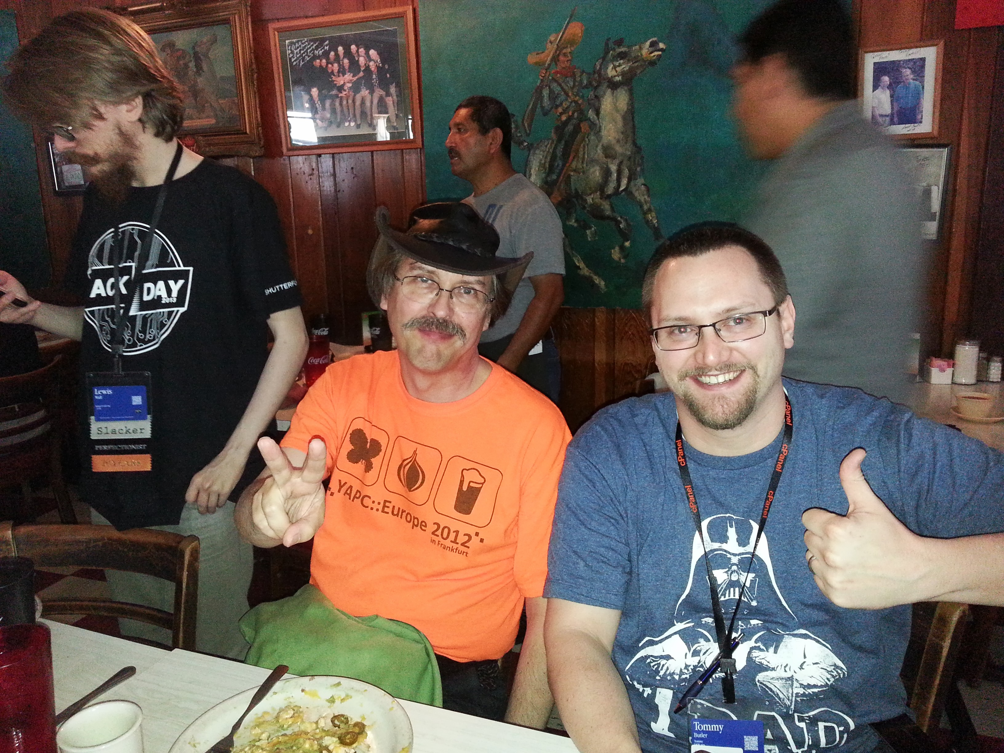 Larry Wall and Me, eating lunch during YAPC::NA 2013