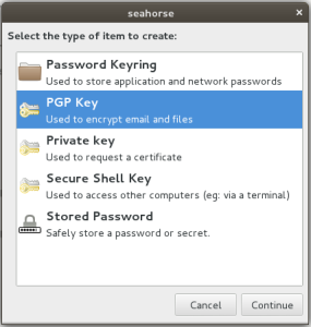 "Select ""PGP"" Key Type"
